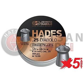 JSB Diabolo Hades 6,35 mm 5 Paket Tüfek Saçmasý (26,54 Grain - 1500 Adet)