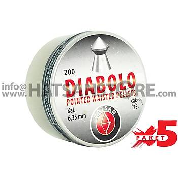 Hatsan Diabolo Pointed Waisted 6,35 mm 5 Paket Havalı Tüfek Saçması