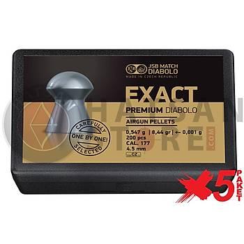 JSB Diabolo Exact Premium 4,52 mm 5 Paket Havalý Tüfek Saçmasý (8,44 Grain - 1000 Adet)