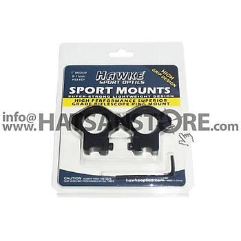 Hawke Sportmounts 9-11 mm Ayak Geniþliðinde Medium Dürbün Ayaðý (1 INC)