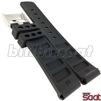 22 mm Silikon Saat Kordonu Siyah-Beyaz BBS-SB6