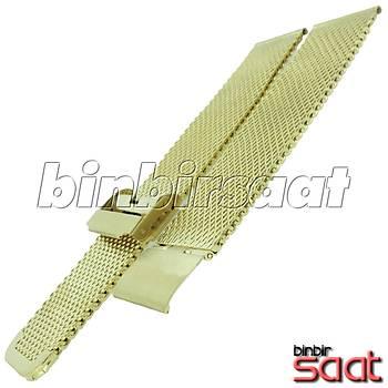 HSR-03 Kalýn Hasýr Çelik Saat Kordonu - Altýn Rengi - 20-22-24 mm