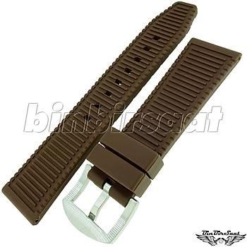 R14CP1-1 Rubber Silikon Saat Kordonu A Kalite 22mm Kahverengi
