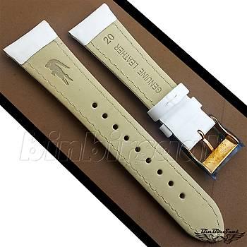 Lacoste Orjinal Hakiki Deri 20x16mm Beyaz Saat Kayýþý