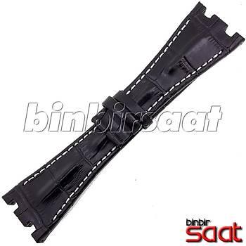 ADPG2818-D1 Audemars Piguet Uyumlu Hakiki Deri Ssaat Kordonu 28mm Siyah