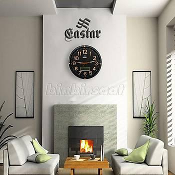 Eastar Analog-Dijital Duvar Saati, Termometre, Takvim, Saat T584A Black