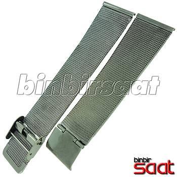 HS-04 Ýnce Hasýr Çelik Saat Kordonu - Gri - 20-22-24 mm