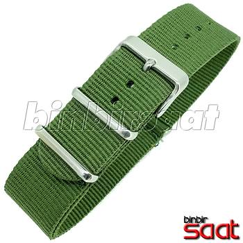 P32 Uzun Perlon Dokuma Saat Kordonu 22mm Yeşil