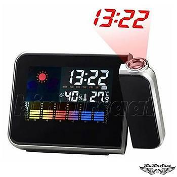 ENAROSE Digital Termometre Higrometre Projektor Saat Alarm Takvim E8190