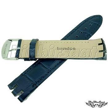BANDCO SWC21M-4 SWATCH UYUMLU 21MM Lacivert Hakiki Deri Saat Kordonu YTG 400 ile uyumlu