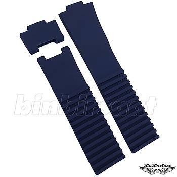 S27-59 Ulysse Nardin Bayan Modeli Uyumlu Silikon Saat Kordonu 22 mm Lacivert