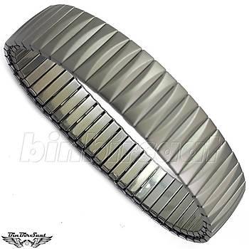 Çelik Yaylý Retro Bileklik  20cm uzunluk 20mm geniþlik
