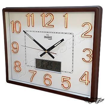 Enarose Analog-Dijital Duvar Saati, Termometre, Takvim, Saat A1104 COFFEE