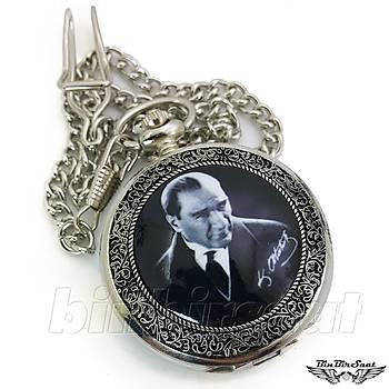 Köstekli Cep Saati Mustafa Kemal Atatürk Resimli, Atatürk Ýmzalý Kadran KST1001-1