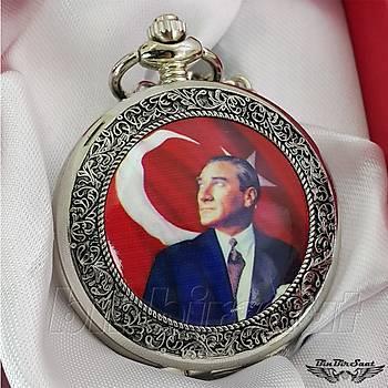Köstekli Cep Saati Mustafa Kemal Atatürk Resimli, Atatürk Ýmzalý Kadran KST1001-2