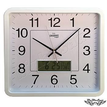 Enarose Analog-Dijital Duvar Saati, Termometre, Takvim, Saat A1104 White