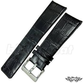 Hakiki Deri Saat Kordonu Siyah Alligator Desen 25mm JP2522M-1