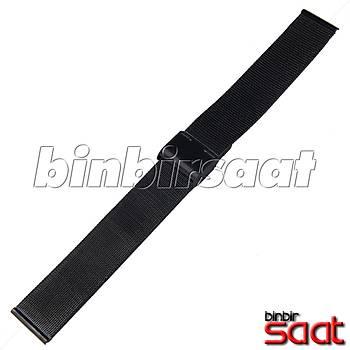 HS-01 Ýnce Hasýr Çelik Saat Kordonu - Siyah - 20-22-24 mm