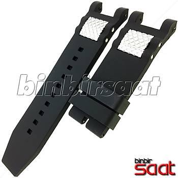 INV-627 Invicta Benzeri Saatler Modelleri ile Uyumlu 28 mm Siyah Silikon Saat Kordonu