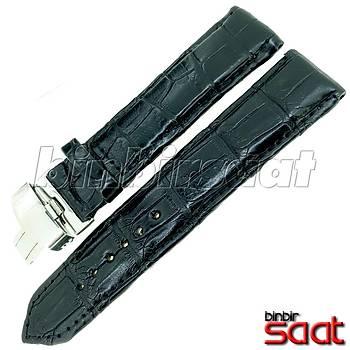 EYP-9148-15 Hakiki Timsah Derisi Özel El Yapýmý Saat Kordonu Siyah 22mm Çelik Katlamalý Klipsli