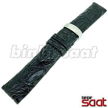 EYP-9148-11 Hakiki Timsah Derisi Özel El Yapýmý Saat Kordonu Siyah 22mm Çelik Katlamalý Klipsli