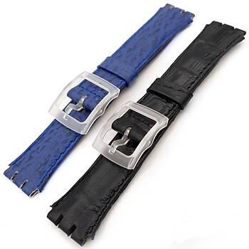 Swatch Uyumlu 17mm Hakiki Deri Saat Kayýþý 2 Renk 2 adet S20M-1