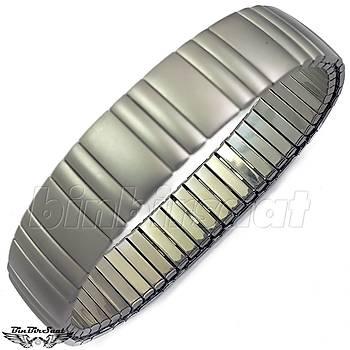 Çelik Yaylý Retro Bileklik  20cm uzunluk 17mm geniþlik