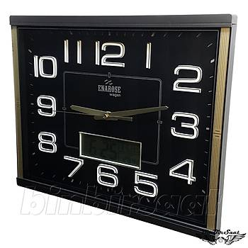 Enarose Analog-Dijital Duvar Saati, Termometre, Takvim, Saat A1086 Black