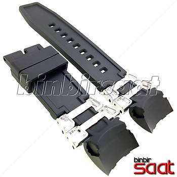 INV-628 Invicta Benzeri Saatler Modelleri ile Uyumlu 26 mm Siyah Silikon Saat Kordonu