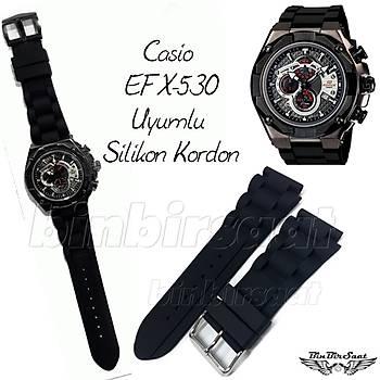 Casio EFX-530 Uyumlu Siyah Silikon Rubber Saat Kordonu 20mm Kasa giriþi