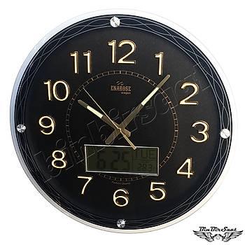 Enarose Analog-Dijital Duvar Saati, Termometre, Takvim, Saat A1102 BLACK