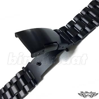 BL2422M-1 Paslanmaz Çelik Saat Kordonu Siyah 24mm