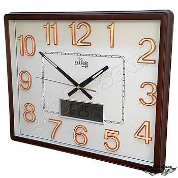 Enarose Analog-Dijital Duvar Saati, Termometre, Takvim, Saat A23135 BROWN