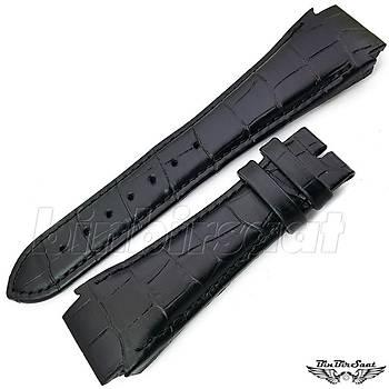 Hugo Boss Uyumlu Hakiki Deri Saat Kordonu HB252018M-1  2 Renk Seçenekli 25mm