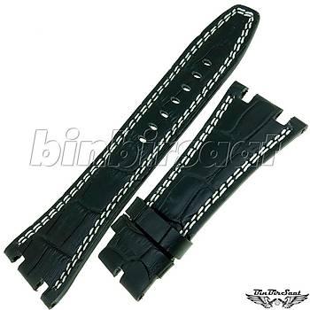 ADPG2820-2 Audemars Piguet Uyumlu Hakiki Deri Saat Kayýþý 28mm Siyah+Beyaz Ýp Dikiþli