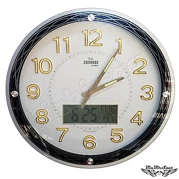 Enarose Analog-Dijital Duvar Saati, Termometre, Takvim, Saat A1102 WHITE