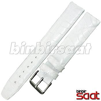 EYP-9148-22 Hakiki Timsah Derisi Özel El Yapýmý Saat Kordonu Beyaz 16 mm