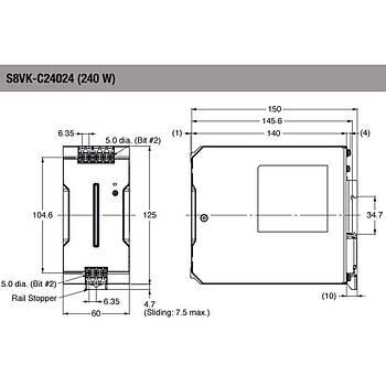24VDC 10A (240W) Giriþ:100-240VAC Ray Tipi Güç Kaynaðý S8VK-C24024 OMRON