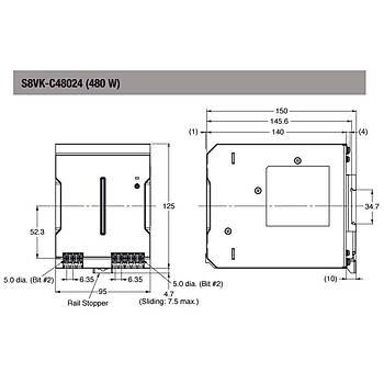 24VDC 20A (480W) Giriþ:100-240VAC Ray Tipi Güç Kaynaðý S8VK-C48024 OMRON
