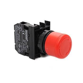B200E30 22mm 1NK Kontaklý Kafa Çapý:30mm Kalýcý Emergency Mantar Acil Stop Butonu EMAS