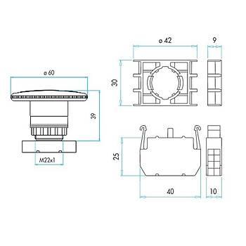 B200E60 22mm 1NK Kontaklý Kafa Çapý:60mm Kalýcý Emergency Mantar Acil Stop Butonu EMAS