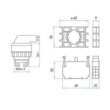 B101S30 22mm 2NA Kontaklý 2-0-1 Kalýcý Mandallý Start Butonu EMAS