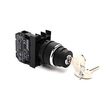 B100AA20 22mm 1NA Kontaklý 0-1 Kalýcý Anahtarlý Start Butonu EMAS