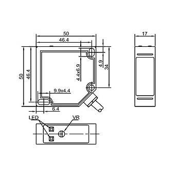 PTFT-BC100SK Kübik 100cm Cisimden Yansýmalý 20-240VAC/12-240VDC 5 Uçlu NO+NC Röle Çýkýþlý 2mt Kablolu Fotosel LANBAO