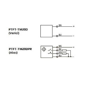 PTFT-TM20D + PTFT-TM20DPR Kübik 20mt Karþýlýklý (Alýcý+Verici) 10...30VDC PNP NO/NC 2mt Kablolu Fotosel LANBAO