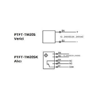 PTFT-TM20S + PTFT-TM20SK Kübik 20mt Karþýlýklý (Alýcý+Verici) 12-240VDC/24-240VAC NO+NC Röle Çýkýþlý 2mt Kablolu Fotosel LANBAO