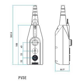 PV3E30B4 2 Butonlu 30mm Acil Stoplu Mekanik Kilitlemeli Yaylý Çift Hýz Vinç Kumanda Kutusu EMAS