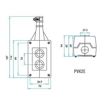 PVK2E 2 Butonlu Mekanik Kilitlemeli Yaylý Tek Hýz Vinç Kumanda Kutusu EMAS