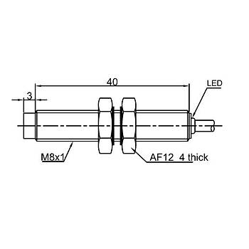 LR08TBN02DPC M8 2mm PNP NC 10-30VDC Kablolu Ýndüktif Sensör LANBAO