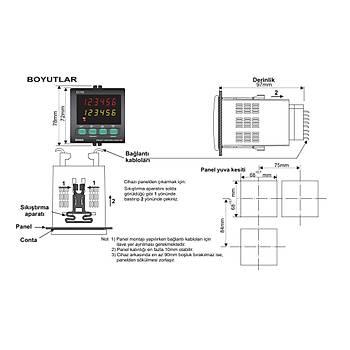 EC762 230VAC 72x72mm Ýleri/Geri Dijital Sayýcý (PNP/NPN/ENCODER) ENDA